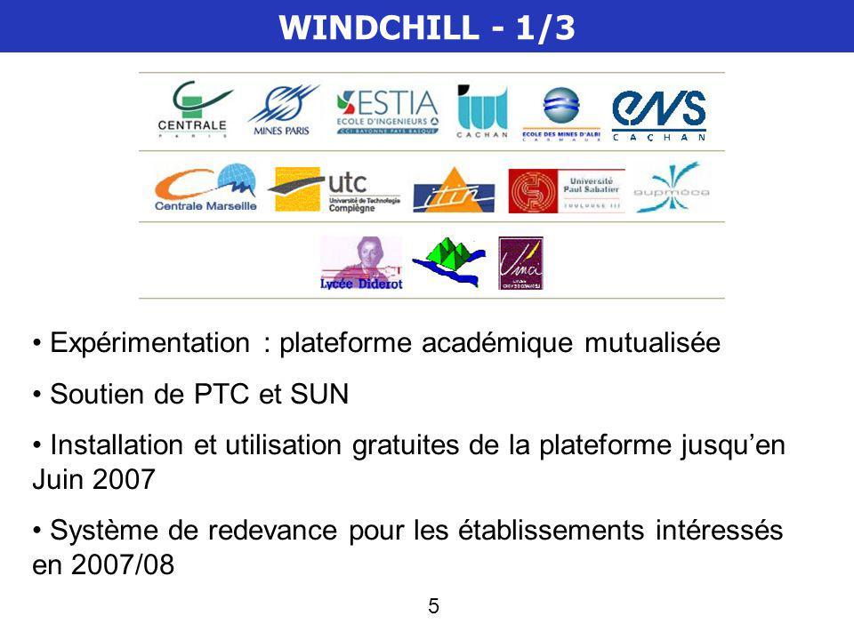 5 WINDCHILL - 1/3 Expérimentation : plateforme académique mutualisée Soutien de PTC et SUN Installation et utilisation gratuites de la plateforme jusquen Juin 2007 Système de redevance pour les établissements intéressés en 2007/08