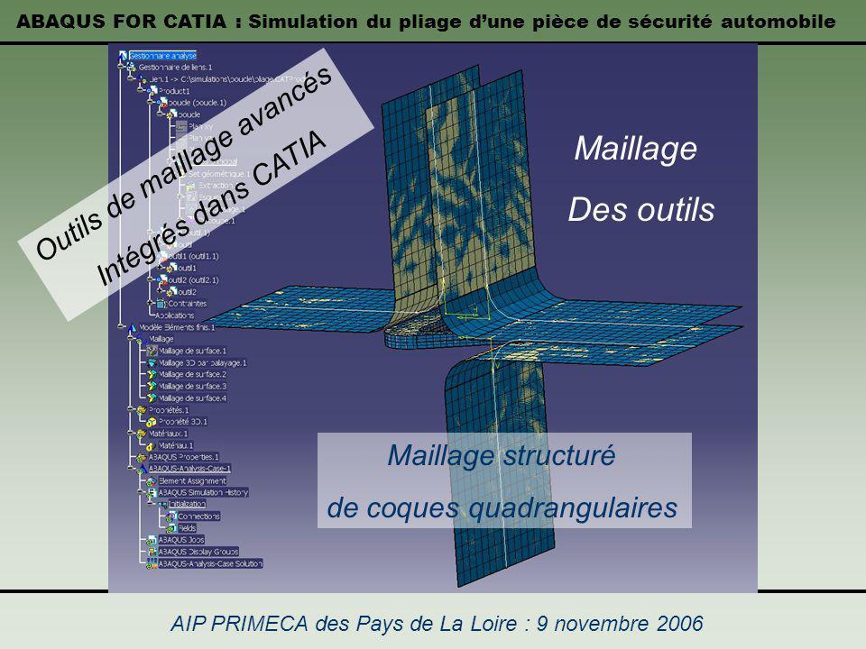 ABAQUS FOR CATIA : Simulation du pliage dune pièce de sécurité automobile AIP PRIMECA des Pays de La Loire : 9 novembre 2006 Maillage Des outils Maill