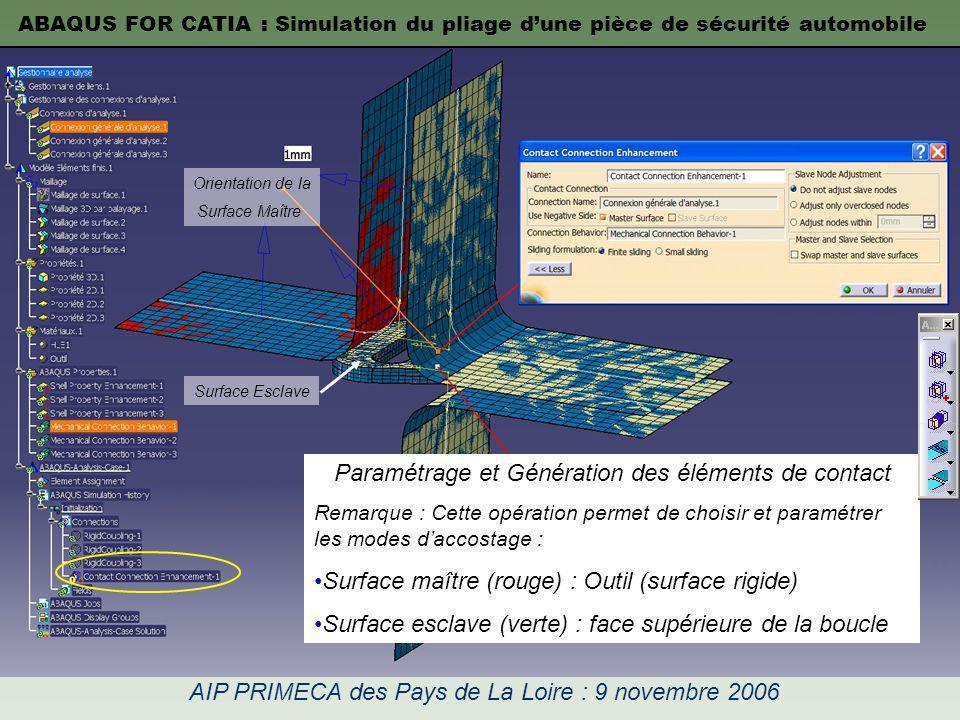 ABAQUS FOR CATIA : Simulation du pliage dune pièce de sécurité automobile AIP PRIMECA des Pays de La Loire : 9 novembre 2006 Paramétrage et Génération