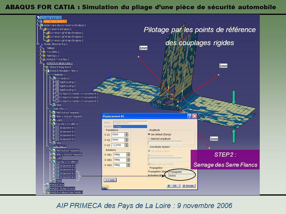 ABAQUS FOR CATIA : Simulation du pliage dune pièce de sécurité automobile AIP PRIMECA des Pays de La Loire : 9 novembre 2006 STEP 2 : Serrage des Serr