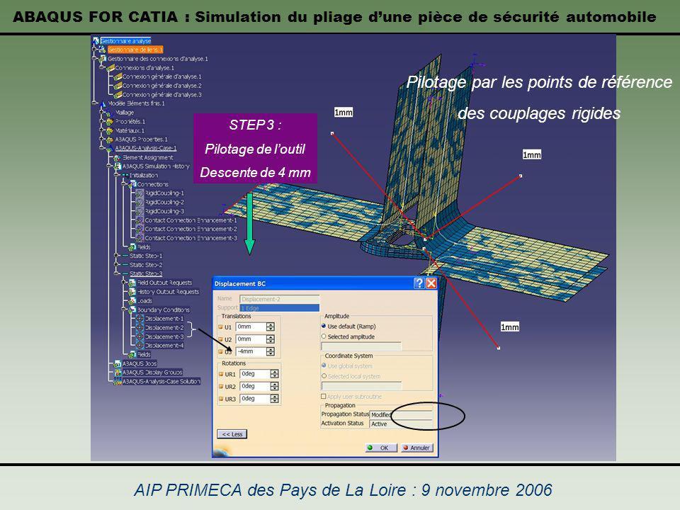 ABAQUS FOR CATIA : Simulation du pliage dune pièce de sécurité automobile AIP PRIMECA des Pays de La Loire : 9 novembre 2006 STEP 3 : Pilotage de lout