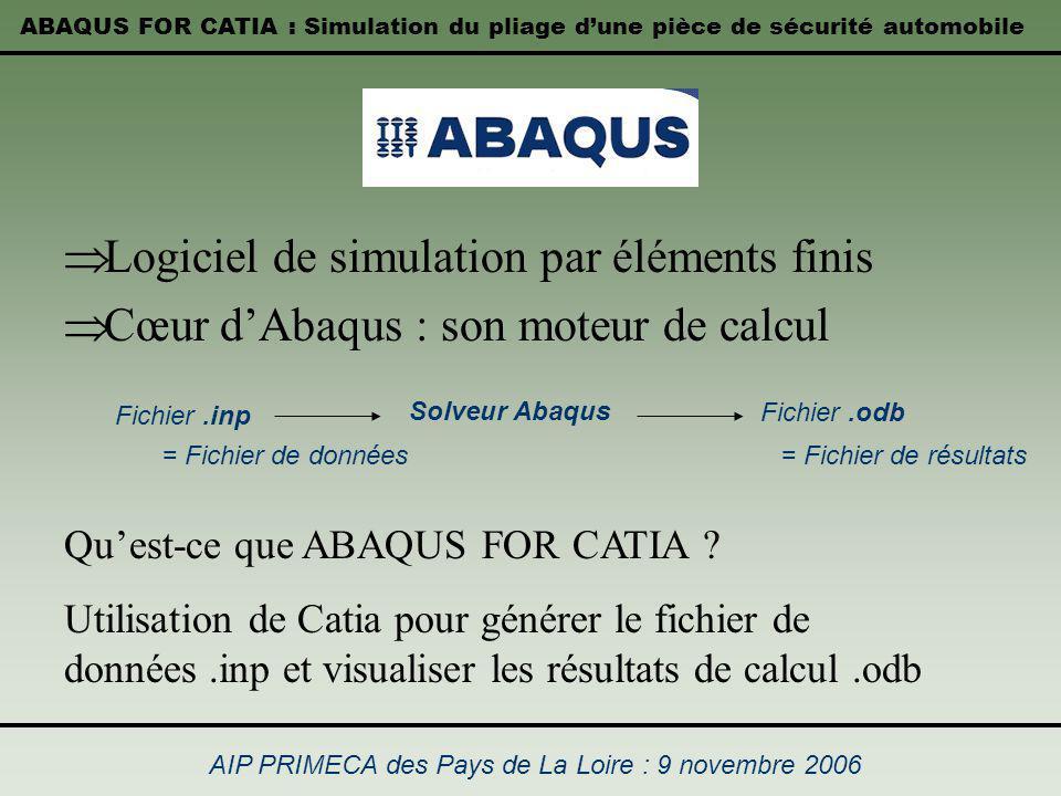 ABAQUS FOR CATIA : Simulation du pliage dune pièce de sécurité automobile AIP PRIMECA des Pays de La Loire : 9 novembre 2006 Logiciel de simulation pa