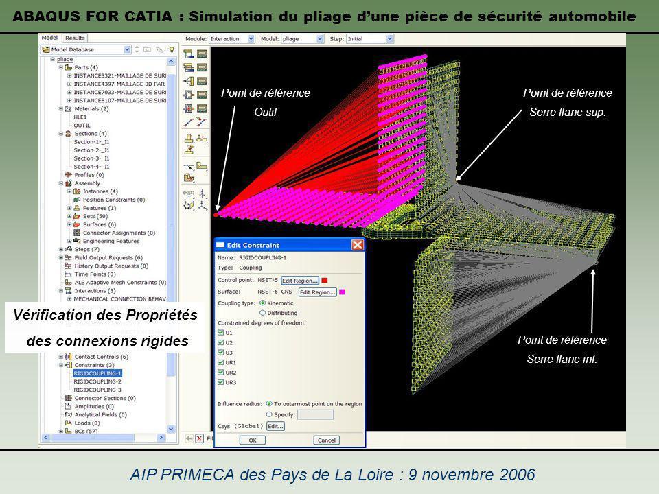 ABAQUS FOR CATIA : Simulation du pliage dune pièce de sécurité automobile AIP PRIMECA des Pays de La Loire : 9 novembre 2006 Vérification des Propriét