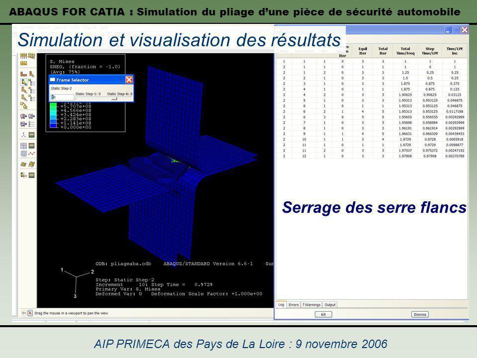 ABAQUS FOR CATIA : Simulation du pliage dune pièce de sécurité automobile AIP PRIMECA des Pays de La Loire : 9 novembre 2006 Simulation et visualisati
