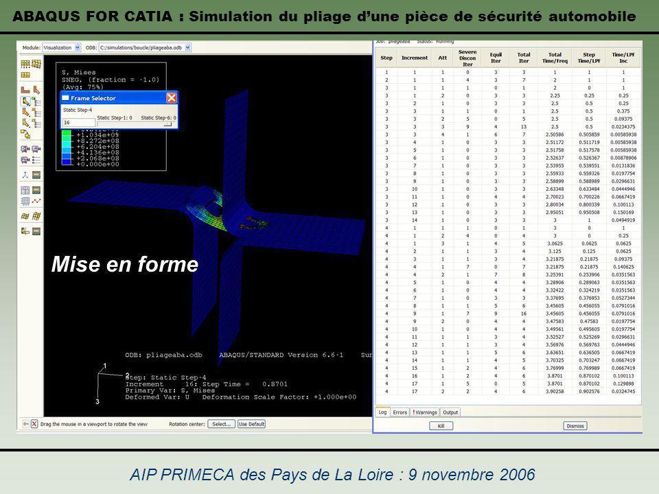 ABAQUS FOR CATIA : Simulation du pliage dune pièce de sécurité automobile AIP PRIMECA des Pays de La Loire : 9 novembre 2006 Mise en forme