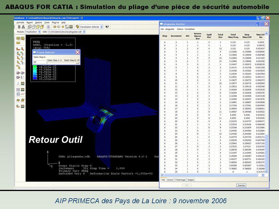 ABAQUS FOR CATIA : Simulation du pliage dune pièce de sécurité automobile AIP PRIMECA des Pays de La Loire : 9 novembre 2006 Retour Outil