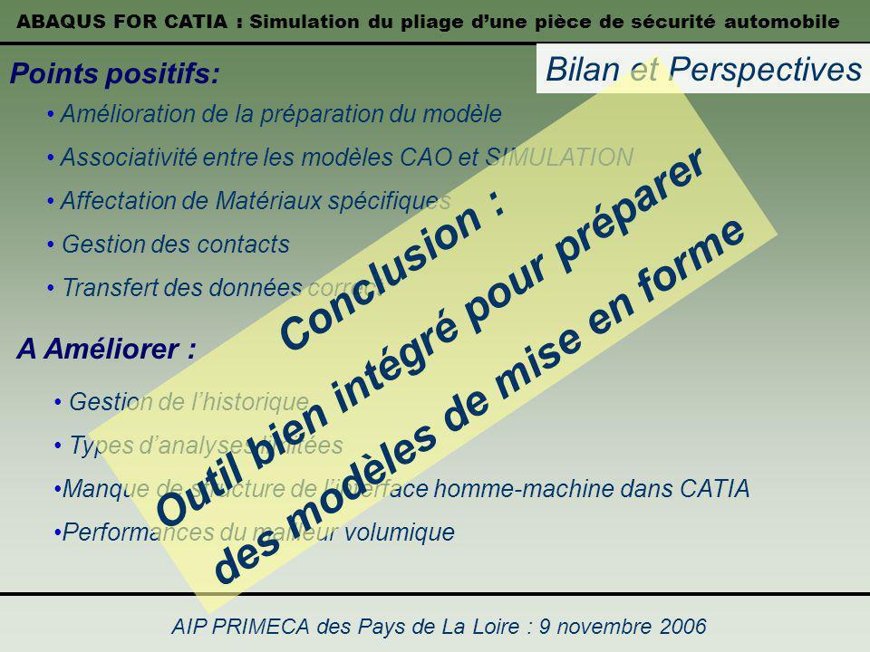ABAQUS FOR CATIA : Simulation du pliage dune pièce de sécurité automobile AIP PRIMECA des Pays de La Loire : 9 novembre 2006 Bilan et Perspectives Poi
