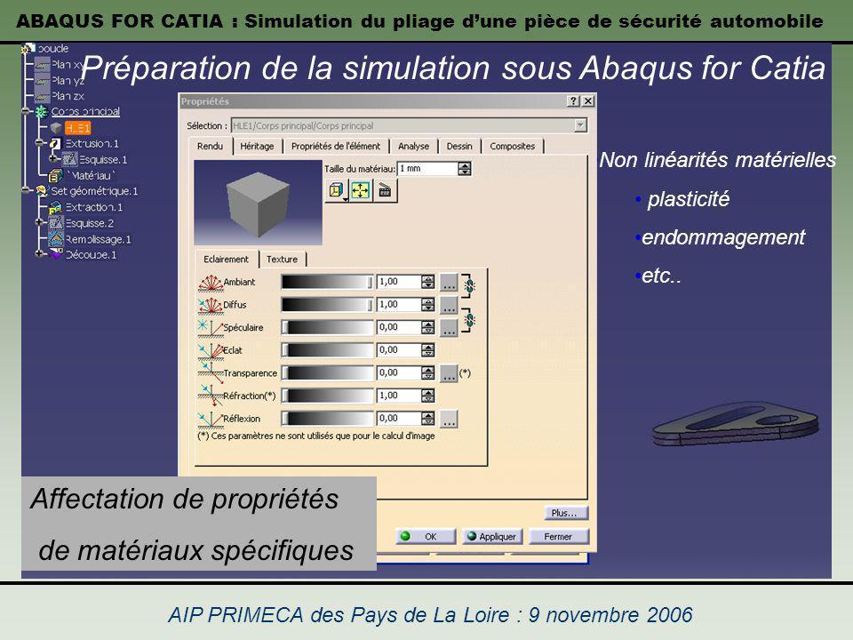 ABAQUS FOR CATIA : Simulation du pliage dune pièce de sécurité automobile AIP PRIMECA des Pays de La Loire : 9 novembre 2006 Non linéarités matérielle