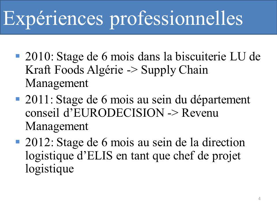 Expériences professionnelles 2010: Stage de 6 mois dans la biscuiterie LU de Kraft Foods Algérie -> Supply Chain Management 2011: Stage de 6 mois au s