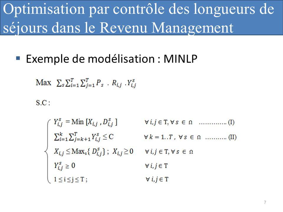 Optimisation par contrôle des longueurs de séjours dans le Revenu Management Hôtelier ». Exemple de modélisation : MINLP 7