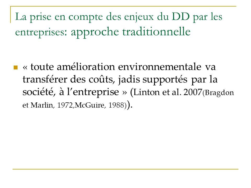La prise en compte des enjeux du DD par les entreprises : approche traditionnelle « toute amélioration environnementale va transférer des coûts, jadis