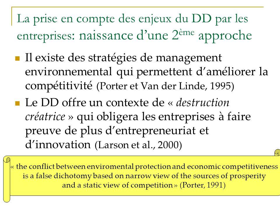 La prise en compte des enjeux du DD par les entreprises : naissance dune 2 ème approche Il existe des stratégies de management environnemental qui per