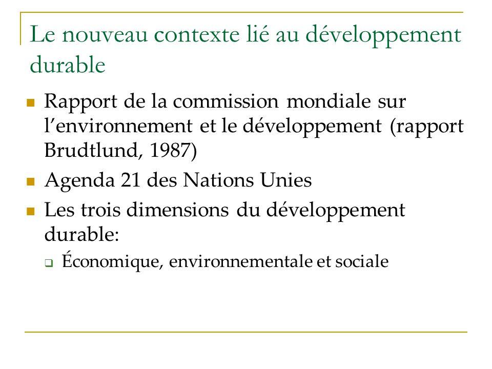 Le nouveau contexte lié au développement durable Rapport de la commission mondiale sur lenvironnement et le développement (rapport Brudtlund, 1987) Ag