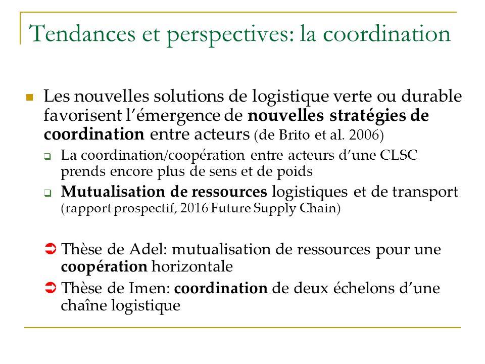 Tendances et perspectives: la coordination Les nouvelles solutions de logistique verte ou durable favorisent lémergence de nouvelles stratégies de coo