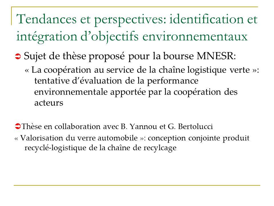 Tendances et perspectives: identification et intégration dobjectifs environnementaux Sujet de thèse proposé pour la bourse MNESR: « La coopération au