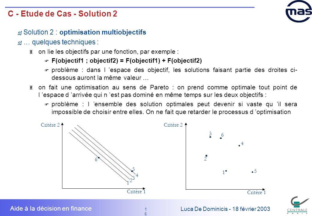 16 1616 Luca De Dominicis - 18 février 2003 Aide à la décision en finance C - Etude de Cas - Solution 2 Solution 2 : optimisation multiobjectifs … que