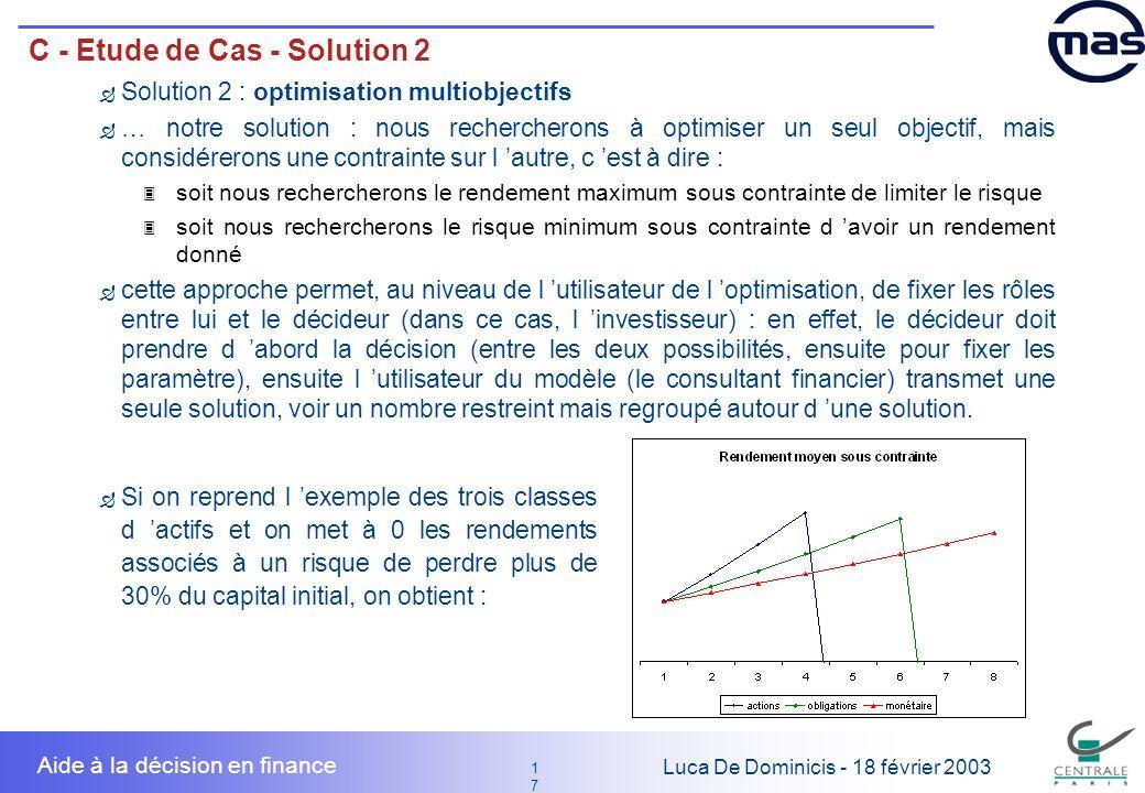 17 1717 Luca De Dominicis - 18 février 2003 Aide à la décision en finance C - Etude de Cas - Solution 2 Solution 2 : optimisation multiobjectifs … not