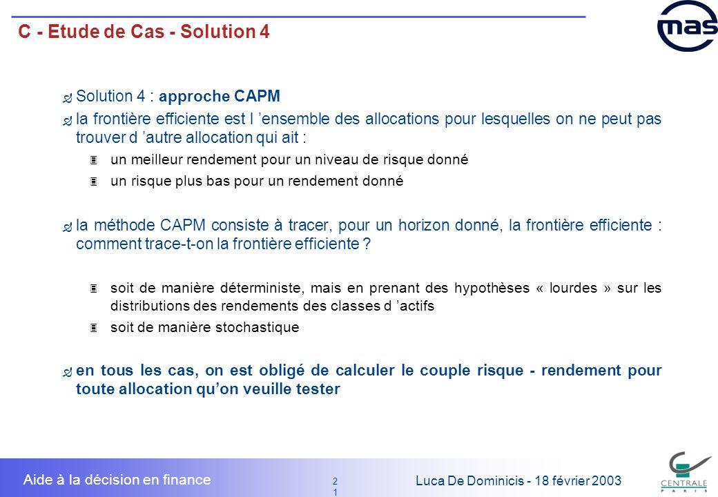 21 2121 Luca De Dominicis - 18 février 2003 Aide à la décision en finance C - Etude de Cas - Solution 4 Solution 4 : approche CAPM la frontière effici