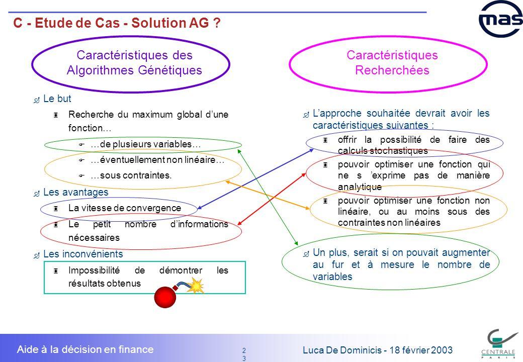 23 2323 Luca De Dominicis - 18 février 2003 Aide à la décision en finance C - Etude de Cas - Solution AG ? Lapproche souhaitée devrait avoir les carac