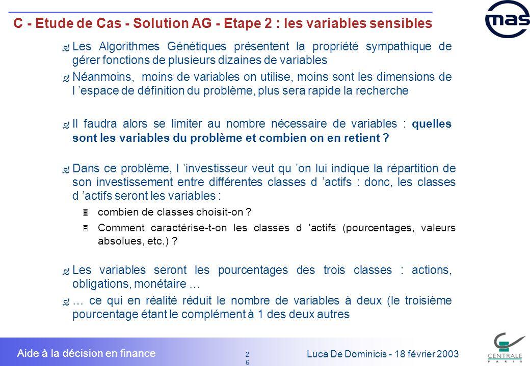 26 2626 Luca De Dominicis - 18 février 2003 Aide à la décision en finance C - Etude de Cas - Solution AG - Etape 2 : les variables sensibles Les Algor