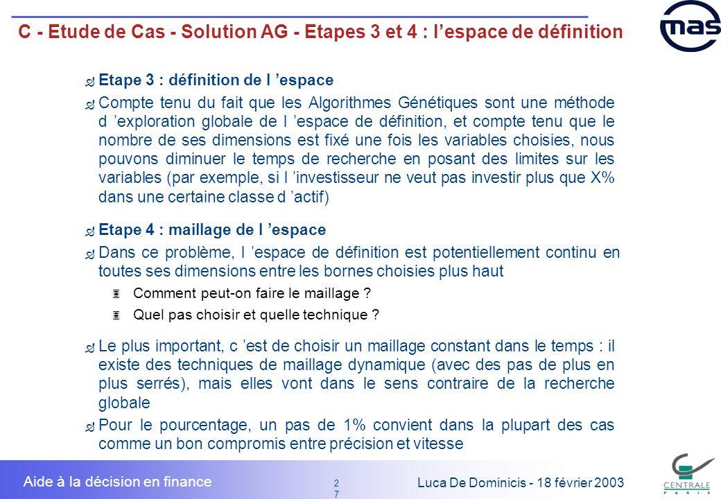 27 2727 Luca De Dominicis - 18 février 2003 Aide à la décision en finance C - Etude de Cas - Solution AG - Etapes 3 et 4 : lespace de définition Etape