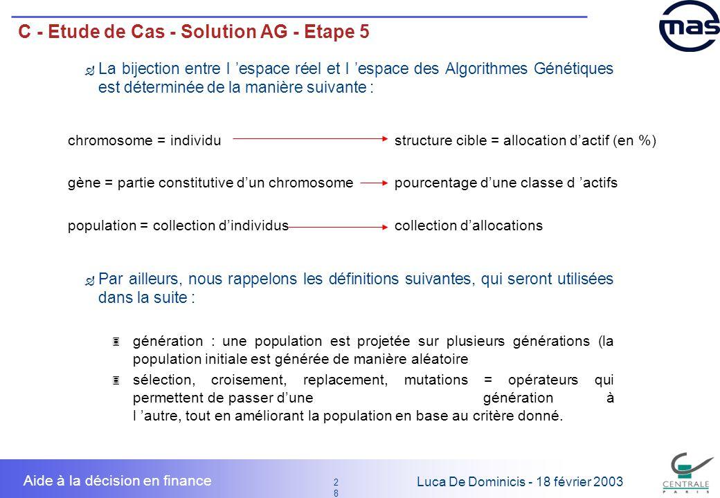 28 2828 Luca De Dominicis - 18 février 2003 Aide à la décision en finance C - Etude de Cas - Solution AG - Etape 5 Par ailleurs, nous rappelons les dé
