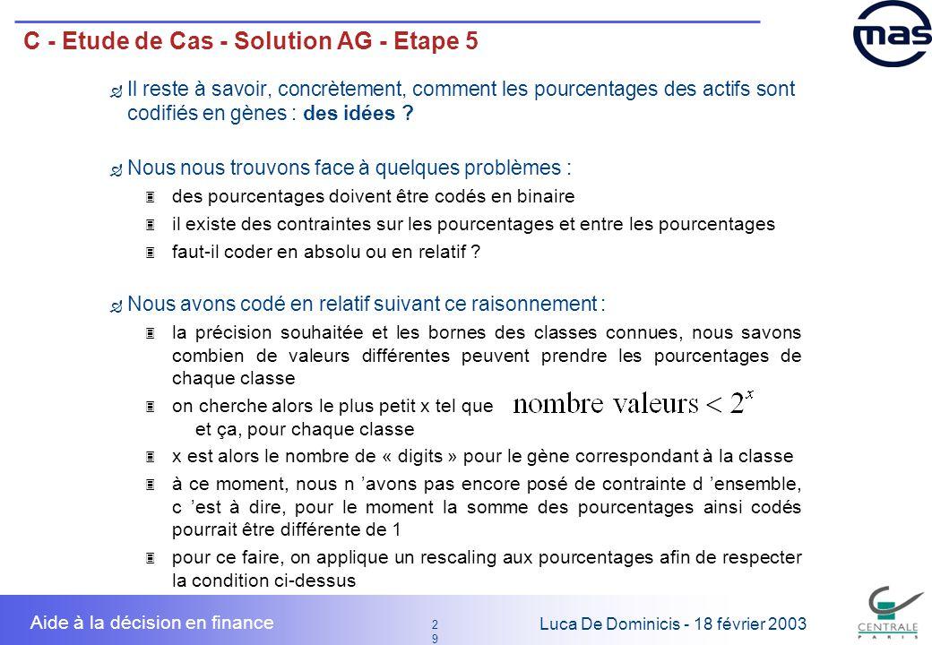 29 2929 Luca De Dominicis - 18 février 2003 Aide à la décision en finance C - Etude de Cas - Solution AG - Etape 5 Il reste à savoir, concrètement, co