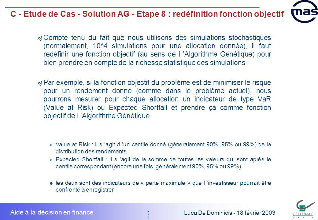 31 3131 Luca De Dominicis - 18 février 2003 Aide à la décision en finance C - Etude de Cas - Solution AG - Etape 8 : redéfinition fonction objectif Co