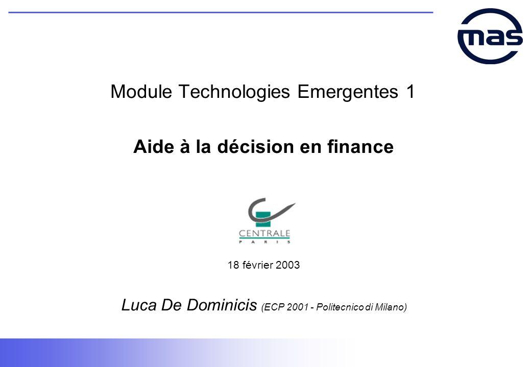 Module Technologies Emergentes 1 Aide à la décision en finance 18 février 2003 Luca De Dominicis (ECP 2001 - Politecnico di Milano)