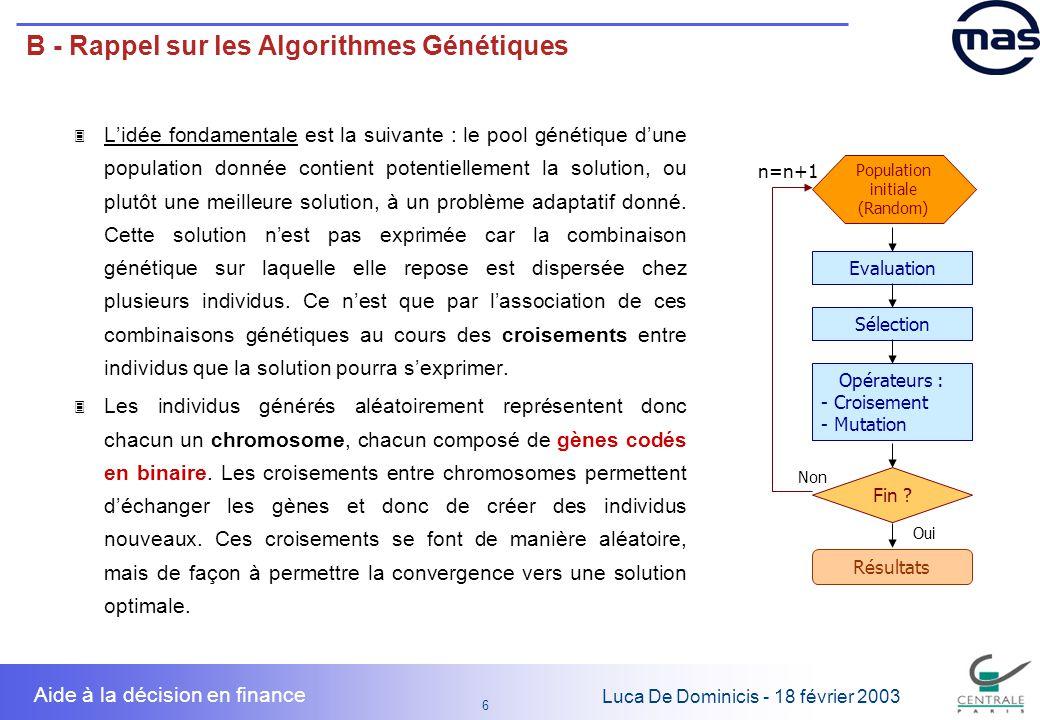 7 7 Luca De Dominicis - 18 février 2003 Aide à la décision en finance B - Rappel sur les Algorithmes Génétiques Les algorithmes génétiques sont une méthode de recherche de maximum qui a les caractéristiques énumérées ci-dessus, notamment : 3 Ils traitent une fonction quelconque, la seule contrainte étant den pouvoir calculer la valeur en tous les points du domaine de définition ; 3 Ils sont une méthode de recherche rapide : ils consentent darriver à des résultats comparables à lexploration exhaustive de lespace de définition en réduisant le temps de calcul de plusieurs ordres de grandeur ; 3 Ils sont une méthode de recherche globale : tous les points de lespace de définition ont la même probabilité a priori d être testés.
