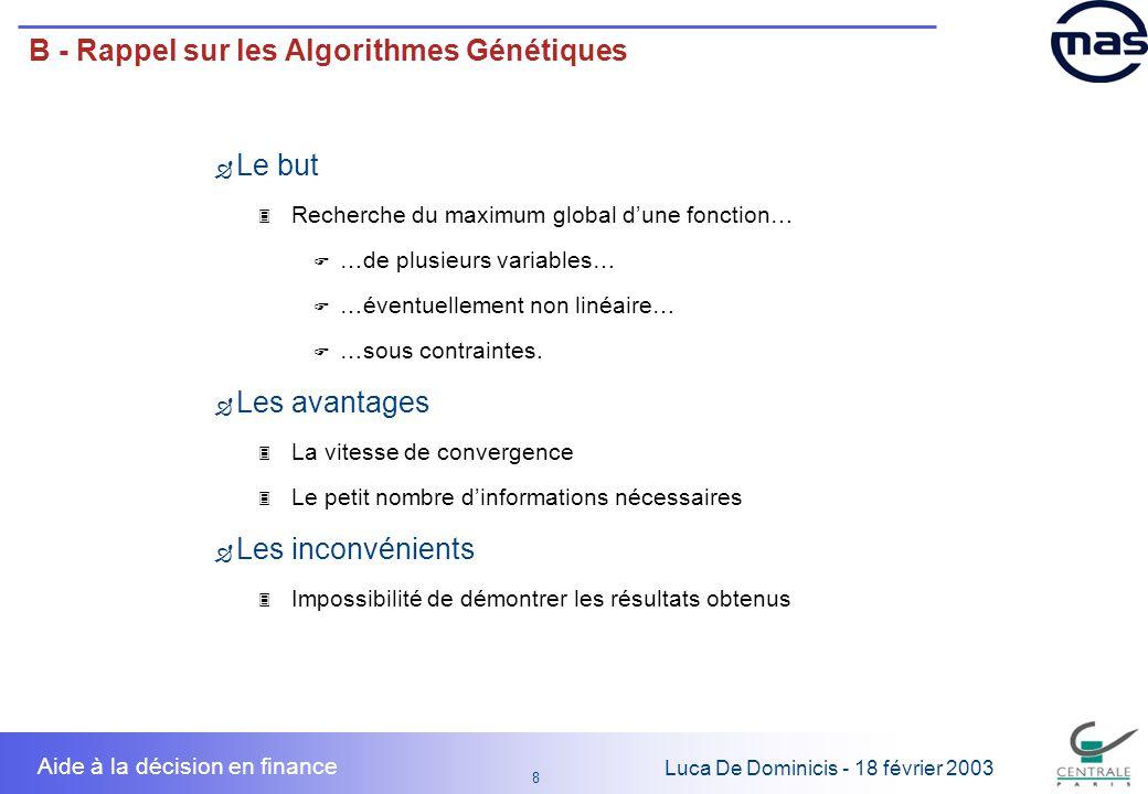 8 8 Luca De Dominicis - 18 février 2003 Aide à la décision en finance B - Rappel sur les Algorithmes Génétiques Le but 3 Recherche du maximum global d