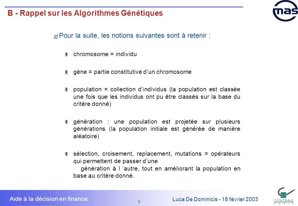 9 9 Luca De Dominicis - 18 février 2003 Aide à la décision en finance B - Rappel sur les Algorithmes Génétiques Pour la suite, les notions suivantes s
