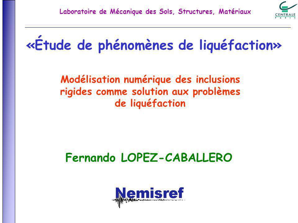 «Étude de phénomènes de liquéfaction» Fernando LOPEZ-CABALLERO Modélisation numérique des inclusions rigides comme solution aux problèmes de liquéfaction Laboratoire de Mécanique des Sols, Structures, Matériaux