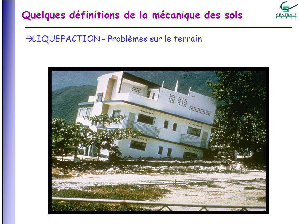 Quelques définitions de la mécanique des sols LIQUEFACTION - Problèmes sur le terrain