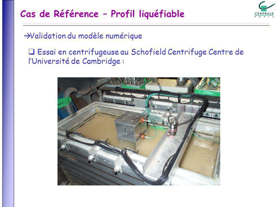 Cas de Référence – Profil liquéfiable Validation du modèle numérique Essai en centrifugeuse au Schofield Centrifuge Centre de lUniversité de Cambridge :