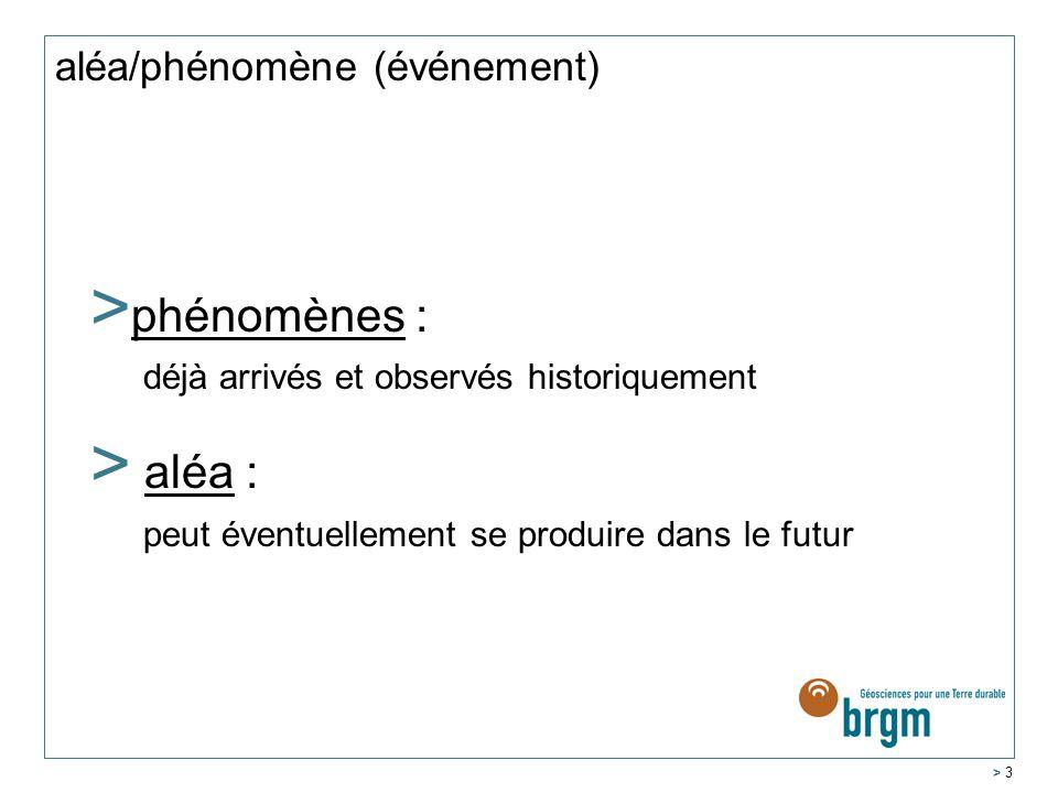 > 3 aléa/phénomène (événement) Bien faire la différence entre : > phénomènes : déjà arrivés et observés historiquement > aléa : peut éventuellement se produire dans le futur