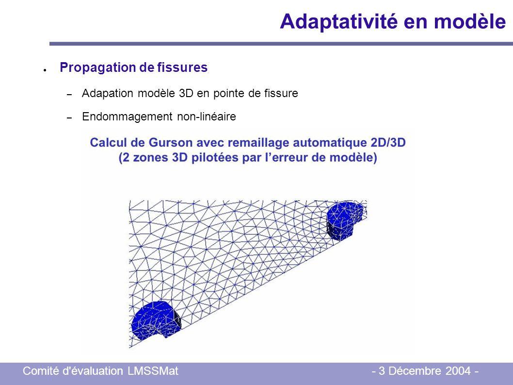 Comité d'évaluation LMSSMat - 3 Décembre 2004 - Adaptativité en modèle Propagation de fissures – Adapation modèle 3D en pointe de fissure – Endommagem