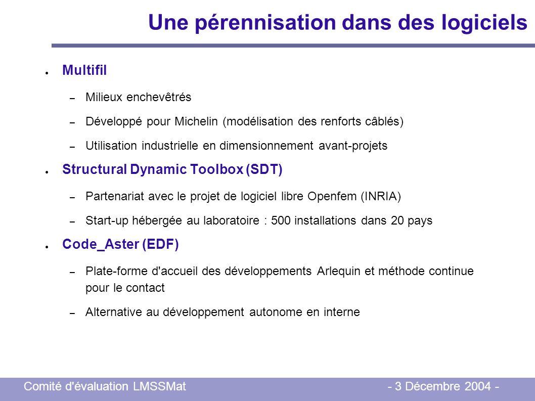 Comité d'évaluation LMSSMat - 3 Décembre 2004 - Une pérennisation dans des logiciels Multifil – Milieux enchevêtrés – Développé pour Michelin (modélis