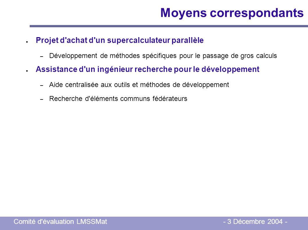 Comité d'évaluation LMSSMat - 3 Décembre 2004 - Moyens correspondants Projet d'achat d'un supercalculateur parallèle – Développement de méthodes spéci