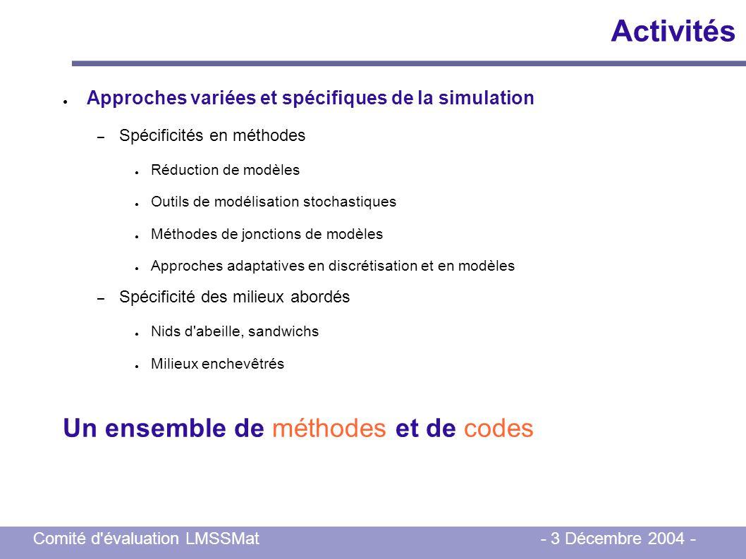 Comité d'évaluation LMSSMat - 3 Décembre 2004 - Activités Approches variées et spécifiques de la simulation – Spécificités en méthodes Réduction de mo