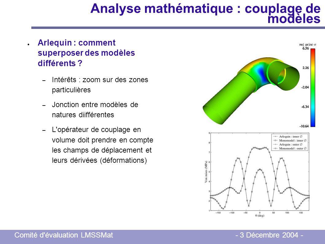 Comité d'évaluation LMSSMat - 3 Décembre 2004 - Analyse mathématique : couplage de modèles Arlequin : comment superposer des modèles différents ? – In