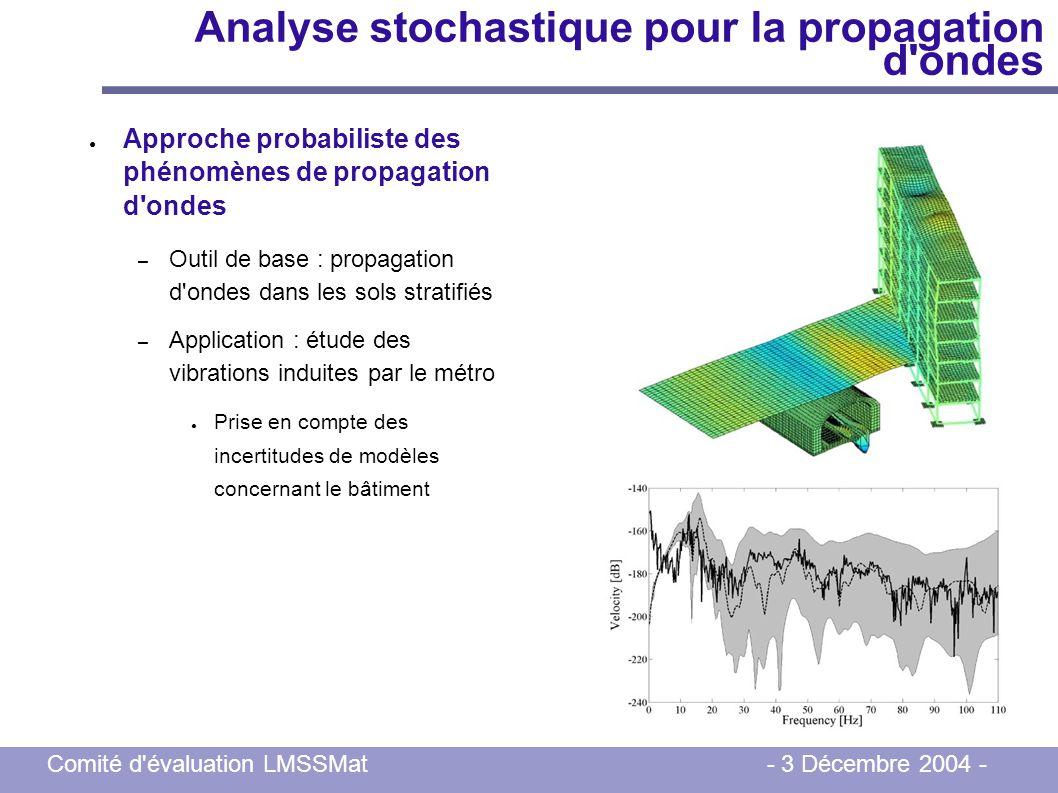 Comité d'évaluation LMSSMat - 3 Décembre 2004 - Analyse stochastique pour la propagation d'ondes Approche probabiliste des phénomènes de propagation d