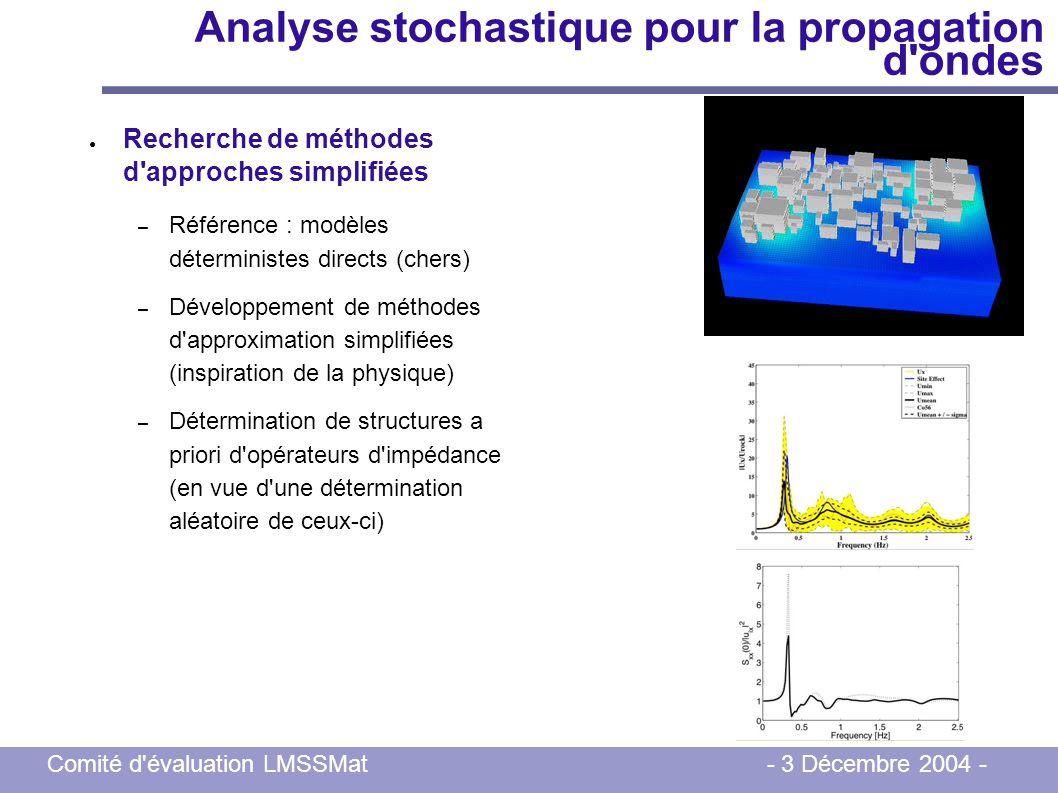 Comité d'évaluation LMSSMat - 3 Décembre 2004 - Analyse stochastique pour la propagation d'ondes Recherche de méthodes d'approches simplifiées – Référ