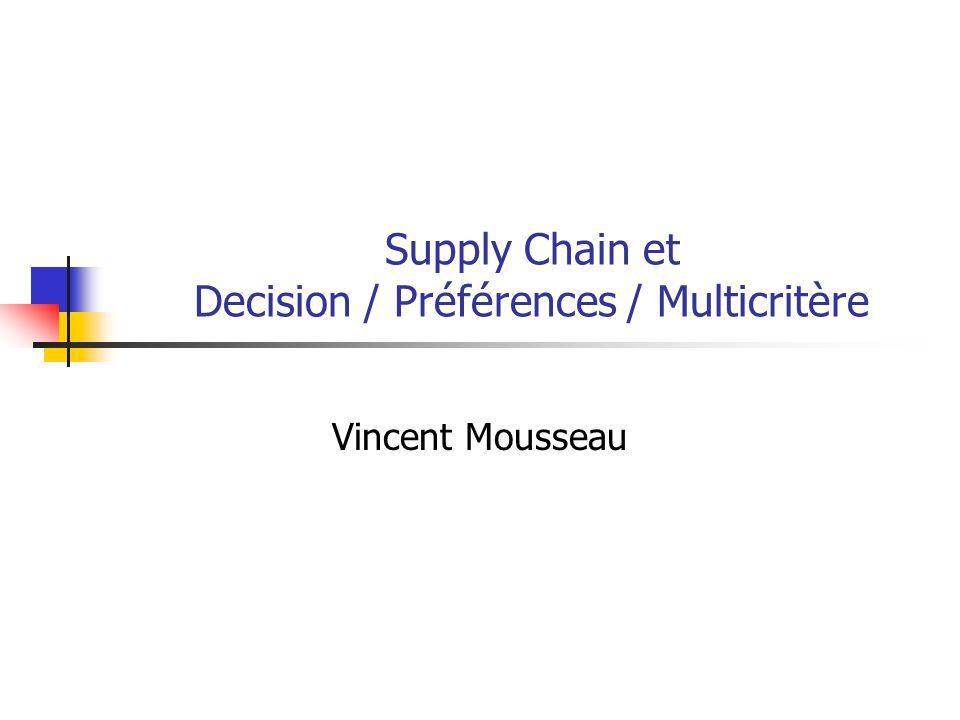 Supply Chain et Decision / Préférences / Multicritère Vincent Mousseau
