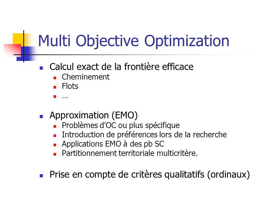 Multi Objective Optimization Calcul exact de la frontière efficace Cheminement Flots … Approximation (EMO) Problèmes dOC ou plus spécifique Introduction de préférences lors de la recherche Applications EMO à des pb SC Partitionnement territoriale multicritère.