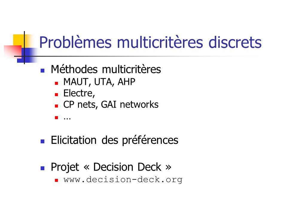 Problèmes multicritères discrets Méthodes multicritères MAUT, UTA, AHP Electre, CP nets, GAI networks … Elicitation des préférences Projet « Decision Deck » www.decision-deck.org