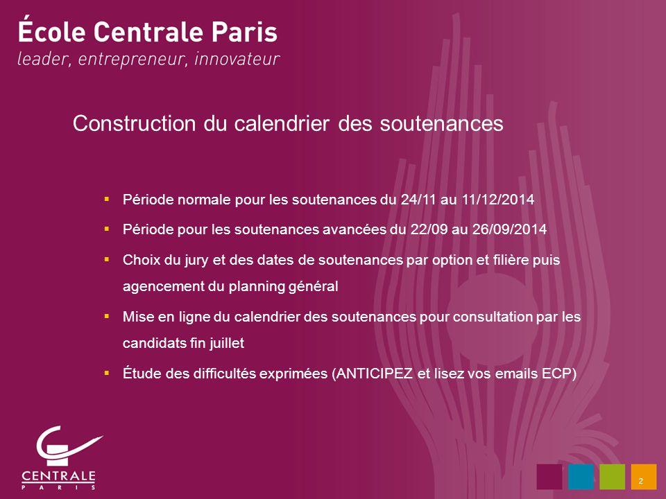 2 Construction du calendrier des soutenances Période normale pour les soutenances du 24/11 au 11/12/2014 Période pour les soutenances avancées du 22/0