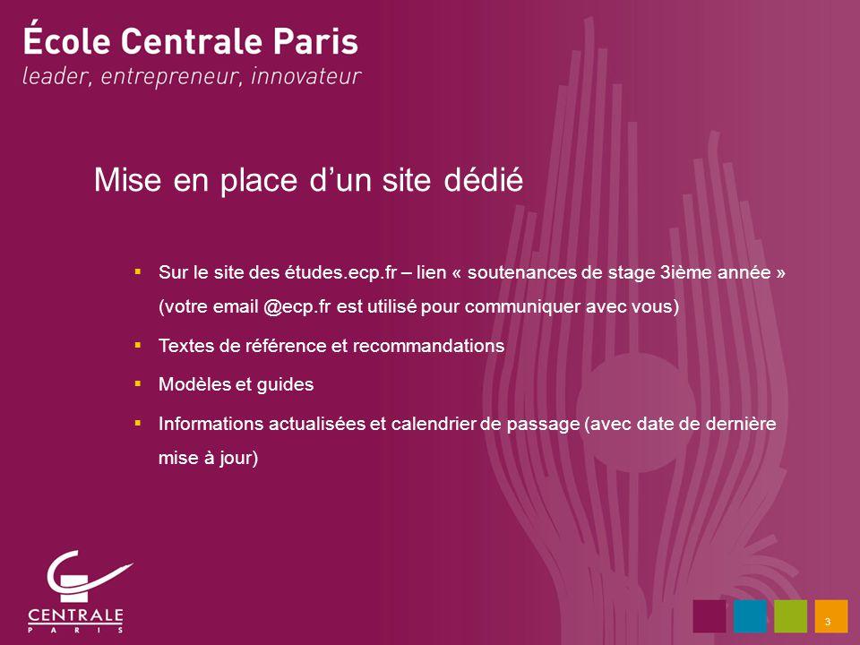 3 Mise en place dun site dédié Sur le site des études.ecp.fr – lien « soutenances de stage 3ième année » (votre email @ecp.fr est utilisé pour communi