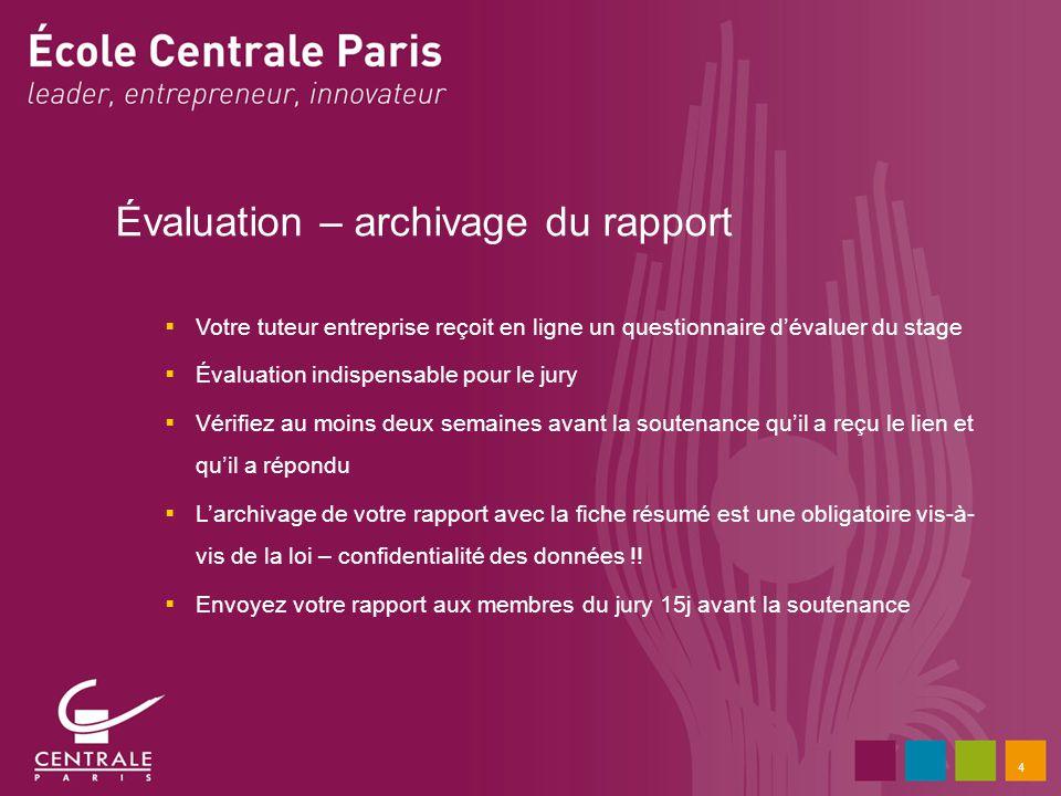 4 Évaluation – archivage du rapport Votre tuteur entreprise reçoit en ligne un questionnaire dévaluer du stage Évaluation indispensable pour le jury V