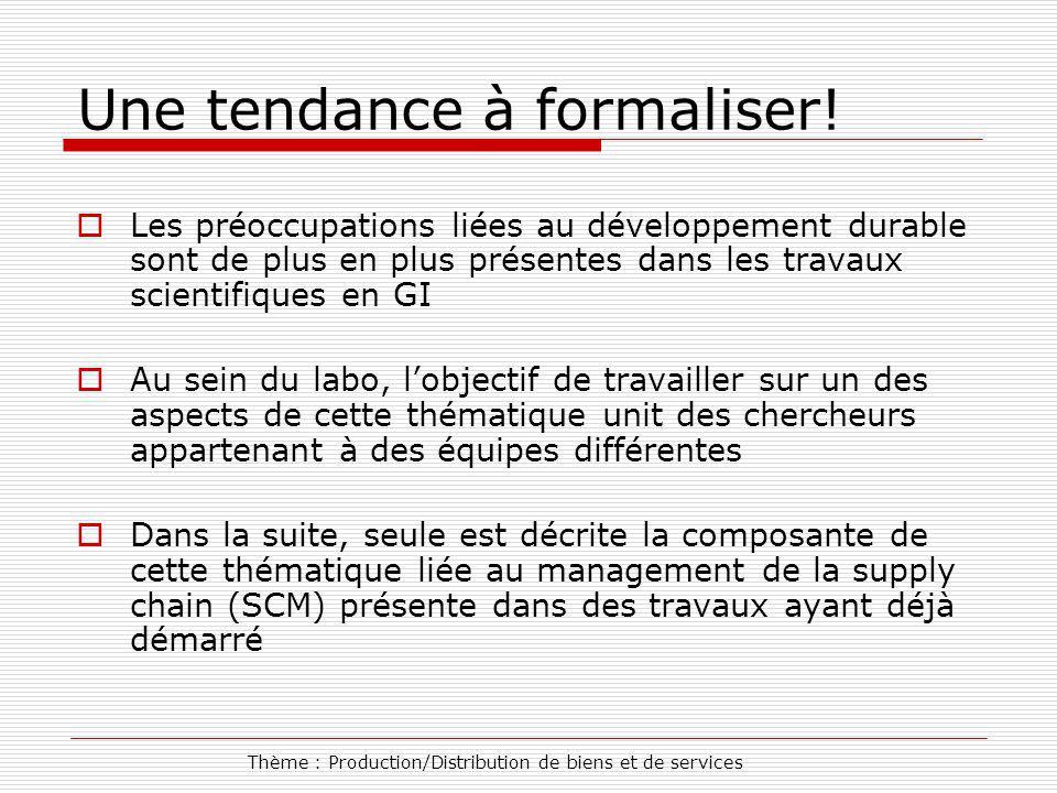 Thème : Production/Distribution de biens et de services Une tendance à formaliser.